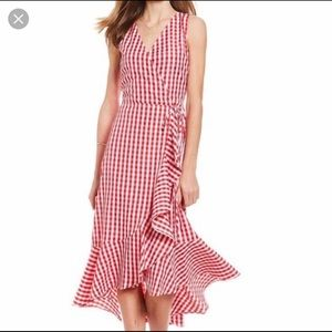 Sugarlips Red and White Gingham Ruffle Wrap Dress